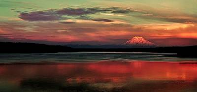 Photograph - Rainier Sunset Panorama by Benjamin Yeager