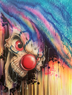 Evil Clown Painting - Raining Fear by Mike Royal