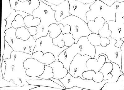 Raining Hearts Abstract Drawing Art Print