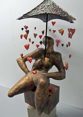 Raining Hearts Art Print by Dedo Cristina