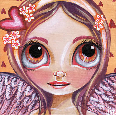 Pop Surrealism Painting - Raining Hearts by Jaz Higgins