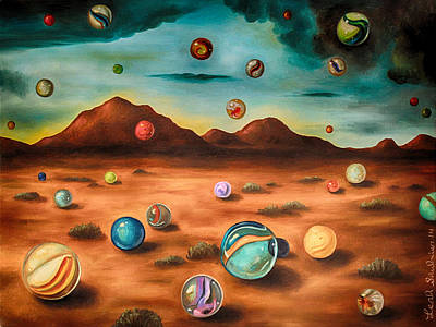 Alien Landscapes Painting - Raining Marbles Edit 3 by Leah Saulnier The Painting Maniac