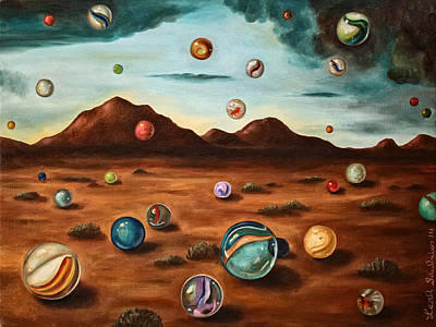 Surreal Landscape Painting - Raining Marbles Edit 6 by Leah Saulnier The Painting Maniac