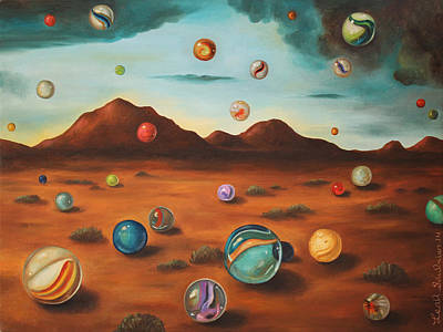 Alien Landscapes Painting - Raining Marbles by Leah Saulnier The Painting Maniac