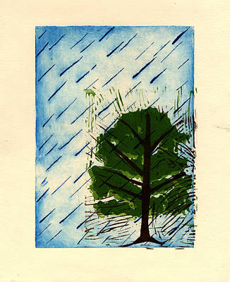 Painting - Raining On The Forest by Isusko Goldaraz