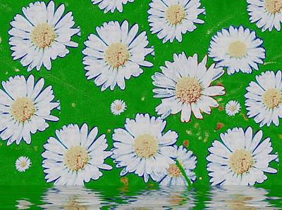 Nature Abstract Mixed Media - Raining White Flower Power by Pepita Selles