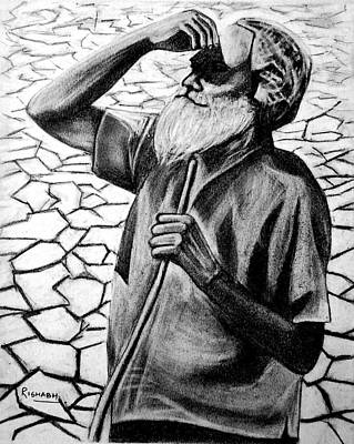 Tears Drawing - Rains Are Like Gold For Us by Rishabh Ranjan