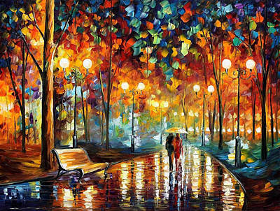 Amsterdam Painting - Rain's Rustle 2 - Palette Knife Oil Painting On Canvas By Leonid Afremov by Leonid Afremov