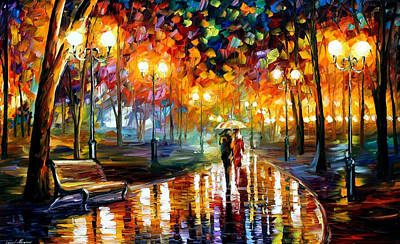 Rain's Rustle - Palette Knife Oil Painting On Canvas By Leonid Afremov Original by Leonid Afremov