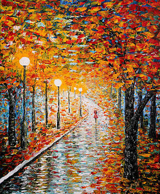 Art Print featuring the painting Rainy Autumn Day Palette Knife Original by Georgeta  Blanaru