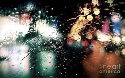 Rainy City Lights Art Print by Lauren Davies