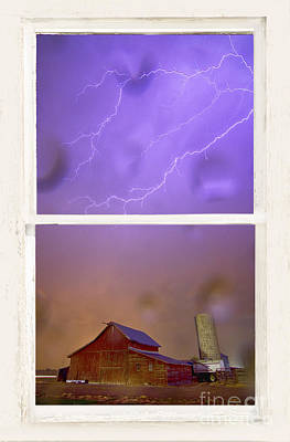 Impressionist Landscapes - Rainy Country Barn White Rustic Window View by James BO Insogna