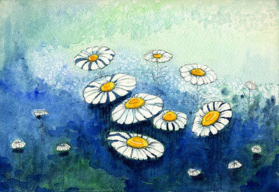 Painting - Rainy Daisies by Katherine Miller
