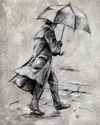 Umbrella Mixed Media - Rainy Day #07 Drawing by Emerico Imre Toth