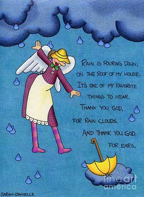 Fairies Drawing - Rainy Day Angel by Sarah Batalka