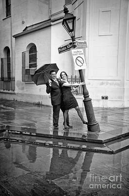 Photograph - Rainy Day At Pirates Alley Lamppost-bw by Kathleen K Parker