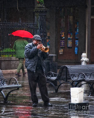 Rainy Day Blues New Orleans Art Print by Kathleen K Parker