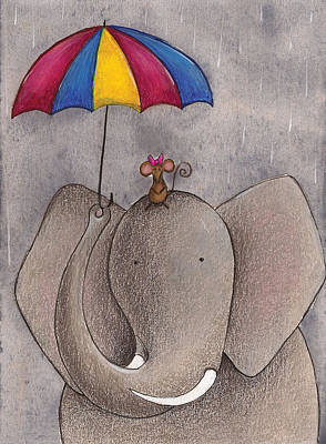 Mice Drawing - Rainy Day by Christy Beckwith