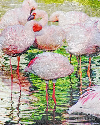 Digital Art - Rainy Day Flamingos 2 by Lizi Beard-Ward