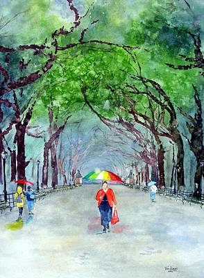 Rainy Day In Central Park Art Print by Tom Riggs