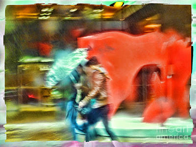 Red Photograph - Rainy Day In New York City by Jeff Breiman