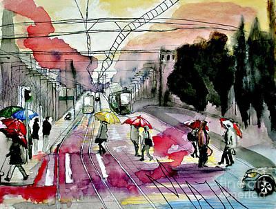 Art Print featuring the painting Rainy Day In The City by Maja Sokolowska