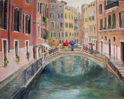 Rainy Day In Venice Art Print by Harriett Masterson