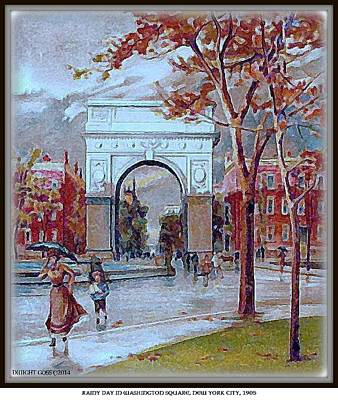 Painting - Rainy Day In Washington Square- New York City- 1905 by Dwight Goss