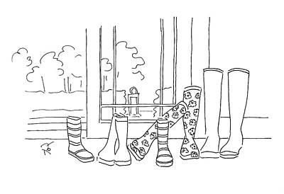 Garden Entrance Drawing - Rainy Day Kisses by Roisin O Farrell