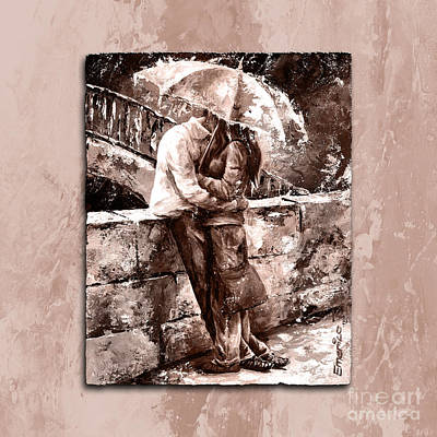 Impressionism Paintings - Rainy day - Love in the rain Style MistyRose by Emerico Imre Toth