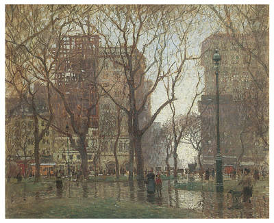 Rainy Day Madison Square New York Art Print by Paul Cornoyer