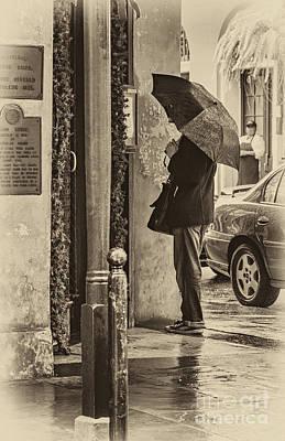 Photograph - Rainy Day Menu Reading - Monochrome by Kathleen K Parker
