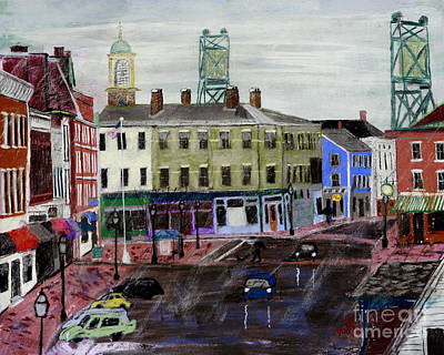 Pastel - Rainy Day On Market Square by Francois Lamothe
