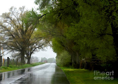 Photograph - Rainy Day Road - Digital Paint 1 by Debbie Portwood