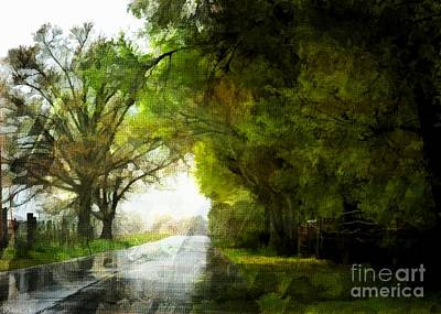 Photograph - Rainy Day Road - Digital Paint 2 by Debbie Portwood