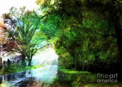 Photograph - Rainy Day Road - Digital Paint 3 by Debbie Portwood