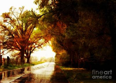 Photograph - Rainy Day Road - Digital Paint 4 by Debbie Portwood