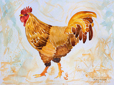 Painting - Rainy Day Rooster by Barbara McMahon