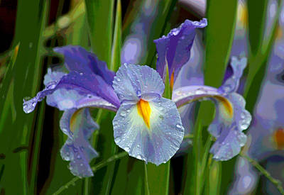 Irises Digital Art - Rainy Day Series - Purple Iris II by Suzanne Gaff