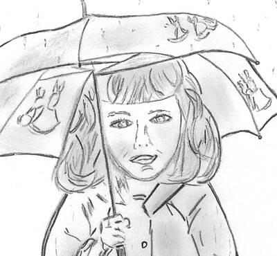 Rain Drawing - Rainy Day Smile by Elizabeth Briggs