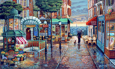 Painting - Rainy Day Stroll by John P. O'brien