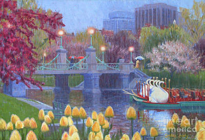 Beacon Hill Painting - Rainy Day Swan Pond by Candace Lovely