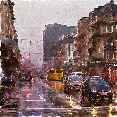 Mixed Media - Rainy Day Traffic by Marian Voicu