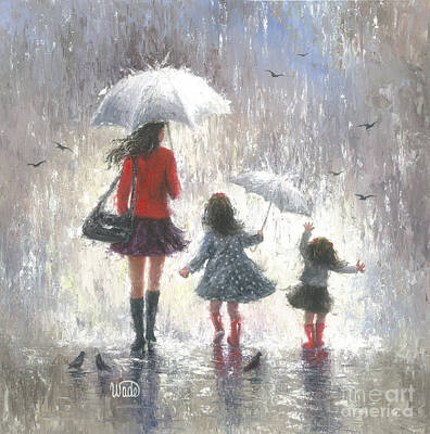 Two Girls Painting - Rainy Day Walk With Mom by Vickie Wade
