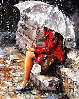 Water Painting - Rainy Day - Woman Of New York by Emerico Imre Toth