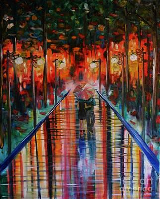 Lightpost Painting - Rainy Days by Kali Koltz