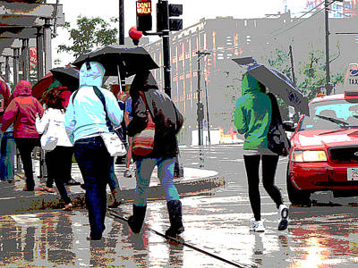 Crosswalk Digital Art - Rainy Daze by Barbara McDevitt
