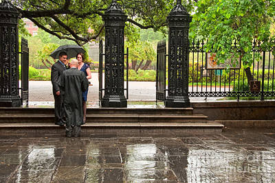 Photograph - Rainy Destination Wedding In Jackson Square New Orleans by Kathleen K Parker
