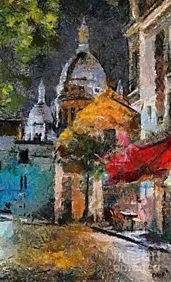 Artist Painting - Rainy Evening In Montmartre by Dragica  Micki Fortuna