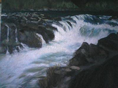 White Water Rafting Painting - Rainy Falls by Shar Brecht